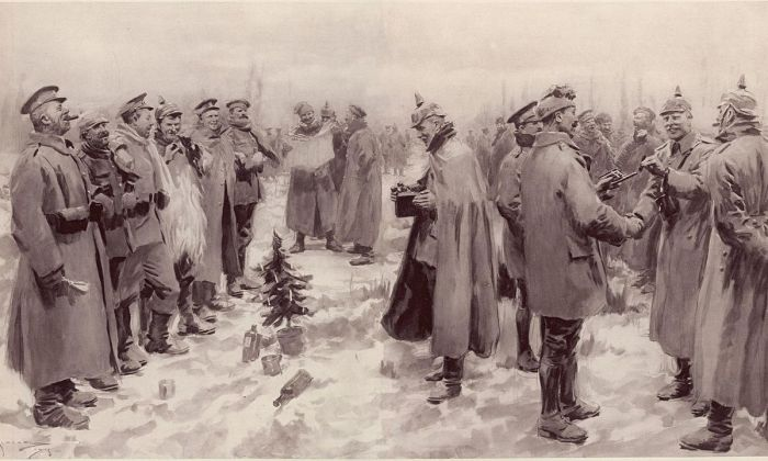 "An artist's impression from The Illustrated London News of 9 January 1915: ""British and German Soldiers Arm-in-Arm Exchanging Headgear: A Christmas Truce between Opposing Trenches"" (Source: Wikipedia)"