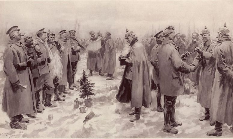 """An artist's impression from The Illustrated London News of 9 January 1915: """"British and German Soldiers Arm-in-Arm Exchanging Headgear: A Christmas Truce between Opposing Trenches"""" (Source: Wikipedia)"""