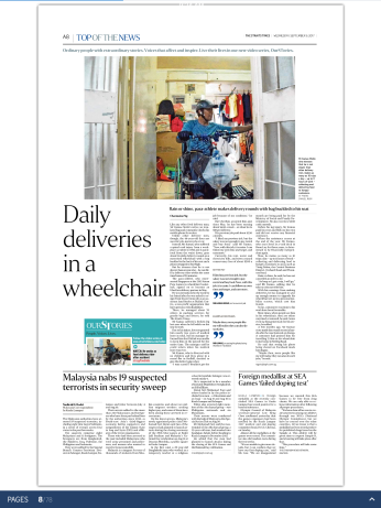 Read Mr. Kamas' story here: http://www.straitstimes.com/singapore/daily-deliveries-in-a-wheelchair